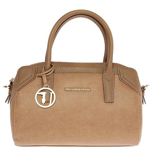 813e4176b8 Trussardi Jeans Borsa a Mano Bauletto da Donna con Tracolla in Eco Pelle  con Dettagli in Stampa Saffiano - 32x21x14 Cm - Mod. 75B702SSM: Amazon.it: Scarpe  e ...