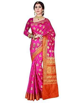 0c09fc4c76 Amazon.com: Viva N Diva Women's Pink & Orange Color Banarasi Art Silk Saree  with Unstitched Blouse Piece.: Clothing