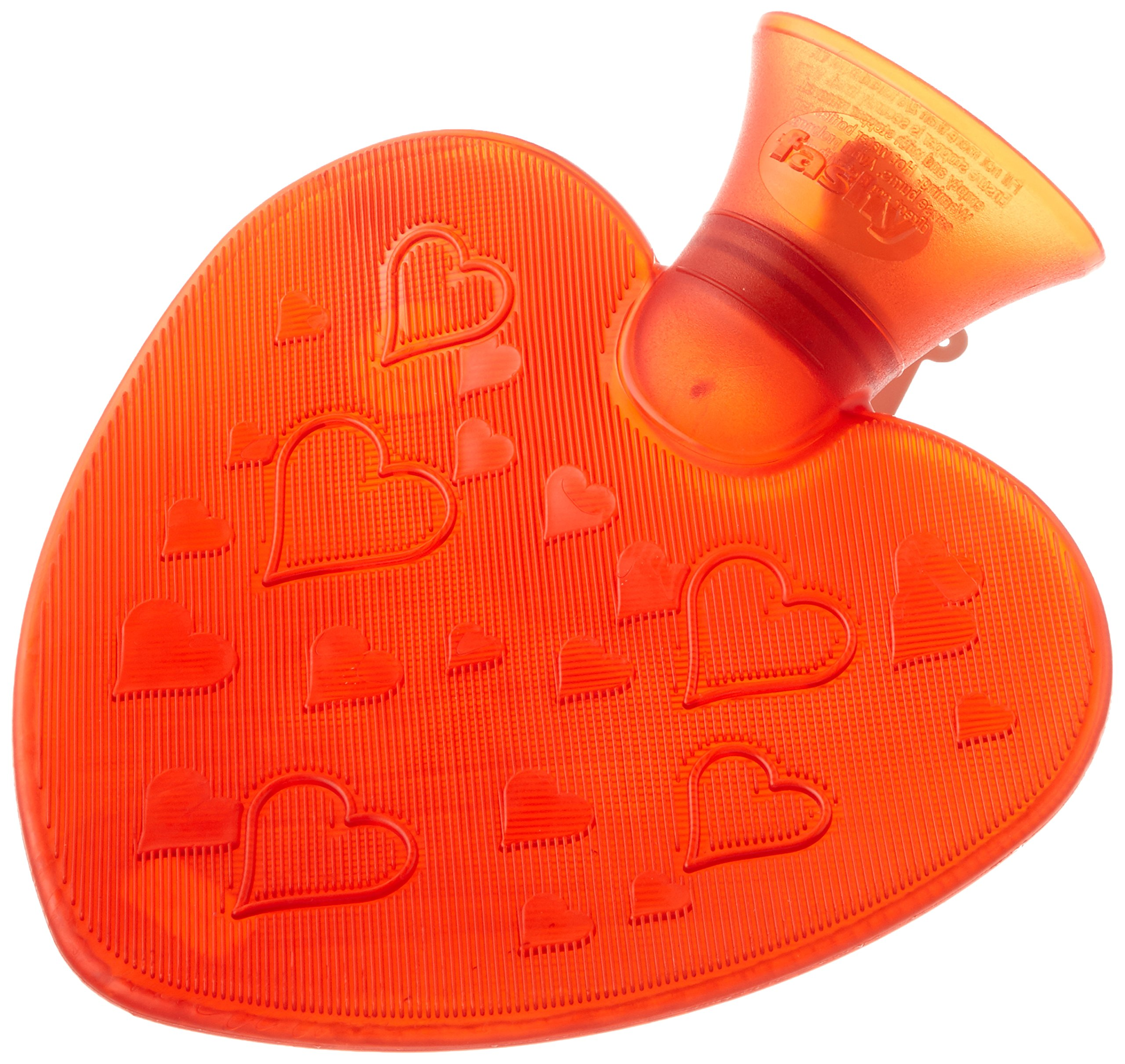 Fashy Small Heart Shaped Red Transparent Travel Size Hot Water Bottle Made in Germany, Soothes Aches and Pains, Eases Stress, 0.7 Liter Capacity by Fashy