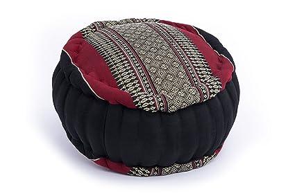 Cojín Zafu para la meditación (35 x 20 cm, cojín con relleno de kapok), negro-rojo