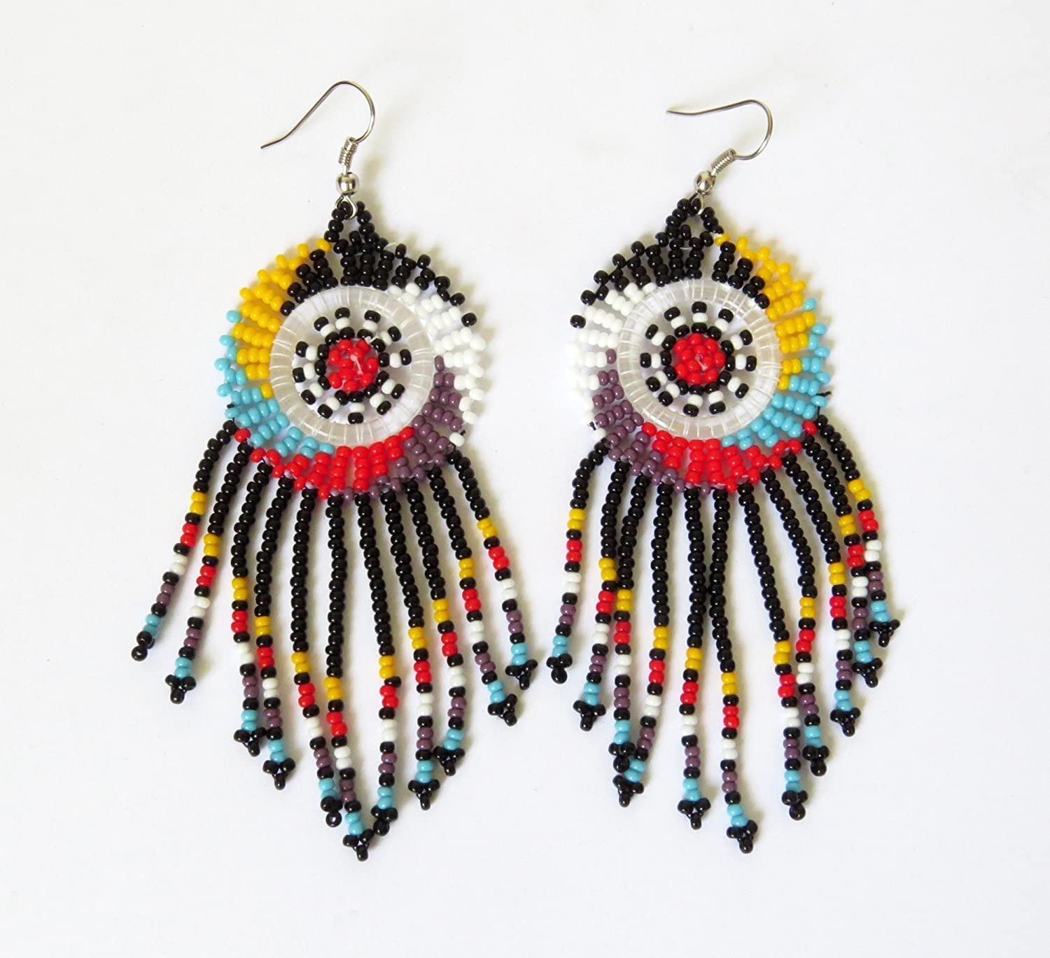 African Zulu beaded earrings - Dreamcatchers (small) - Black and multicolour - Gift for her