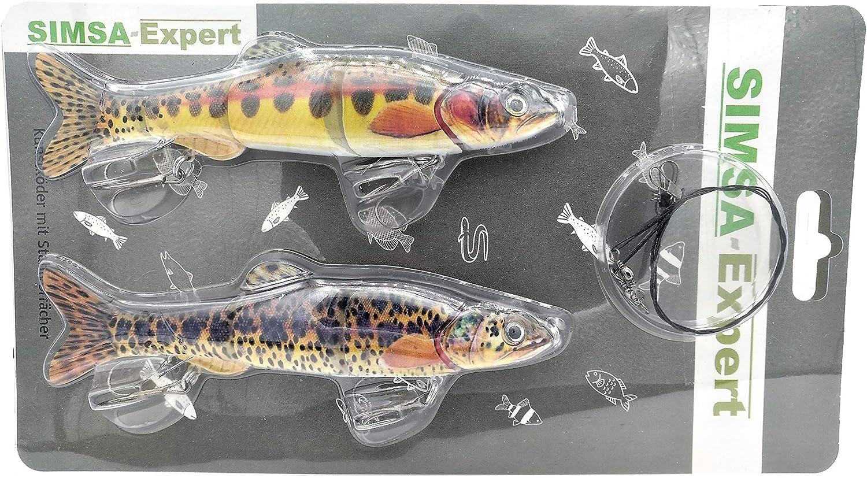 16,5cm 38g SIMSA-Expert 2X Forellen Wobbler f/ür Hecht 2er-Set 30cm Swimbait Kunstk/öder Shad | 2 x Stahlvorfach