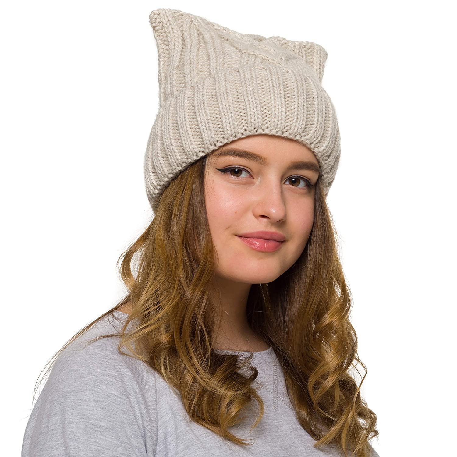 c137a88094a Pussy Cat Hat Women`s March-Cat Beanie -Winter Hat for Women Lined with  Fleece (Beige) at Amazon Women s Clothing store