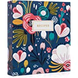 Jot & Mark Recipe Organizer 3 Ring Binder Set (Garden Floral) | 50 Recipe Cards 4x6, Rainbow Full Page Dividers and Plastic P