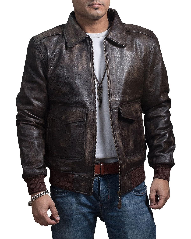 JNJ A 2 Flight Bomber Aviator Pilot Tan Brown Leather Jacket