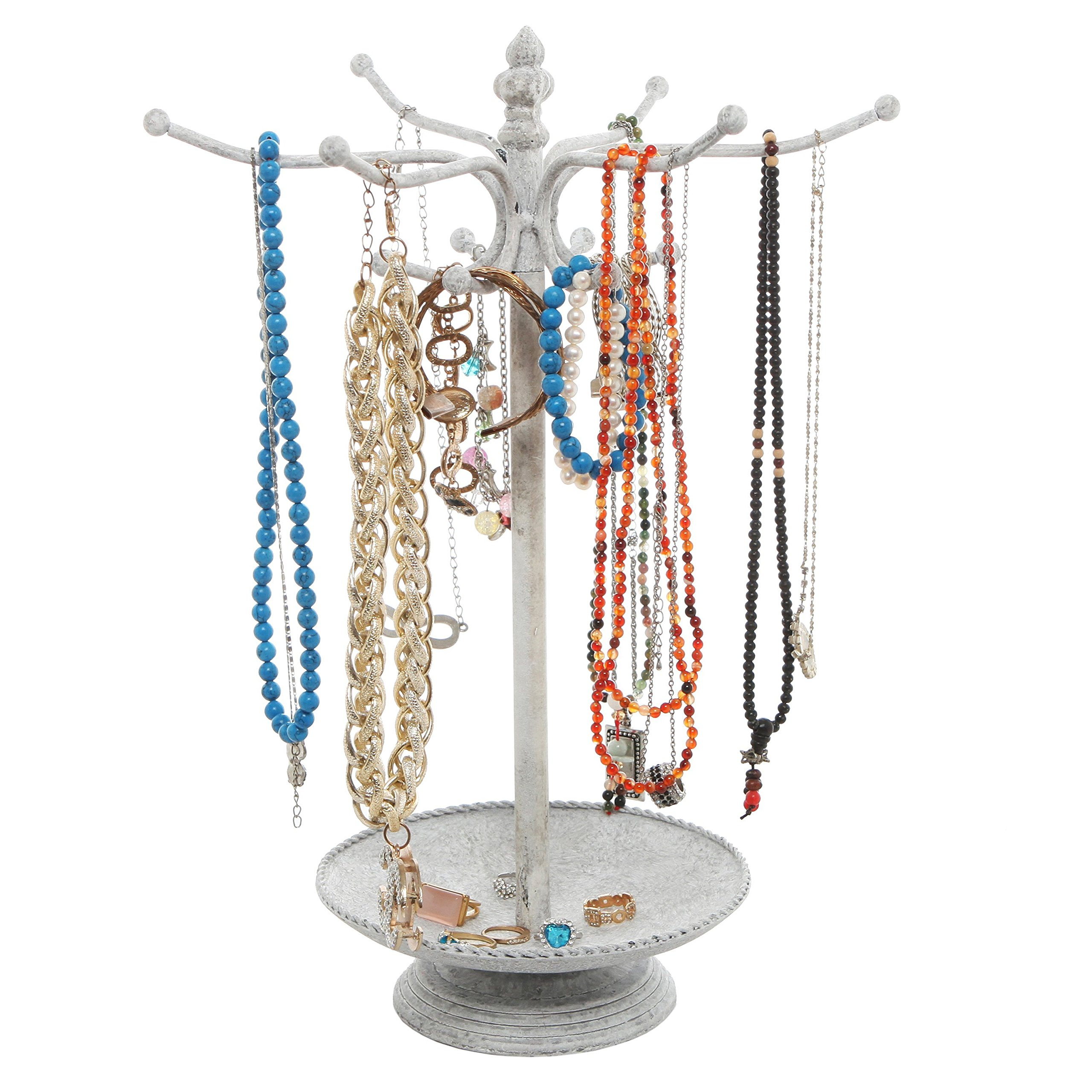 Vintage Style Whitewashed Metal 12 Hook Jewelry Organizer Tree Rack Stand w/ Ring Dish Tray