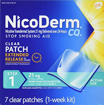 NicoDerm CQ Nicotine Patch, Clear, Step 1 to Quit Smoking, 21mg, 7