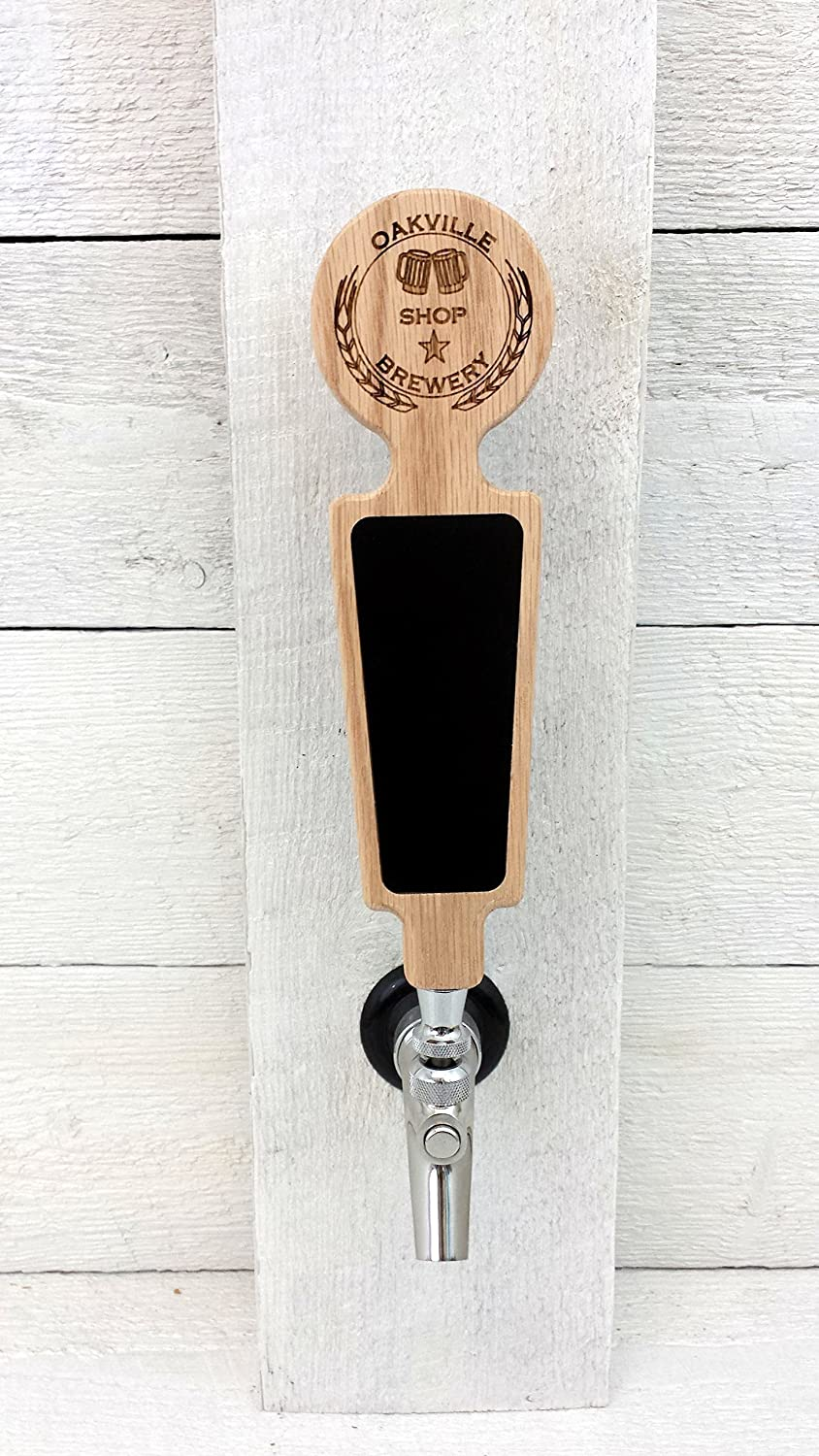 Custom personalized beer tap handle with Premium chalkboard dry-erase surface. Engraved with personalized logo. Great for restaurant, brewery and home kegerators.