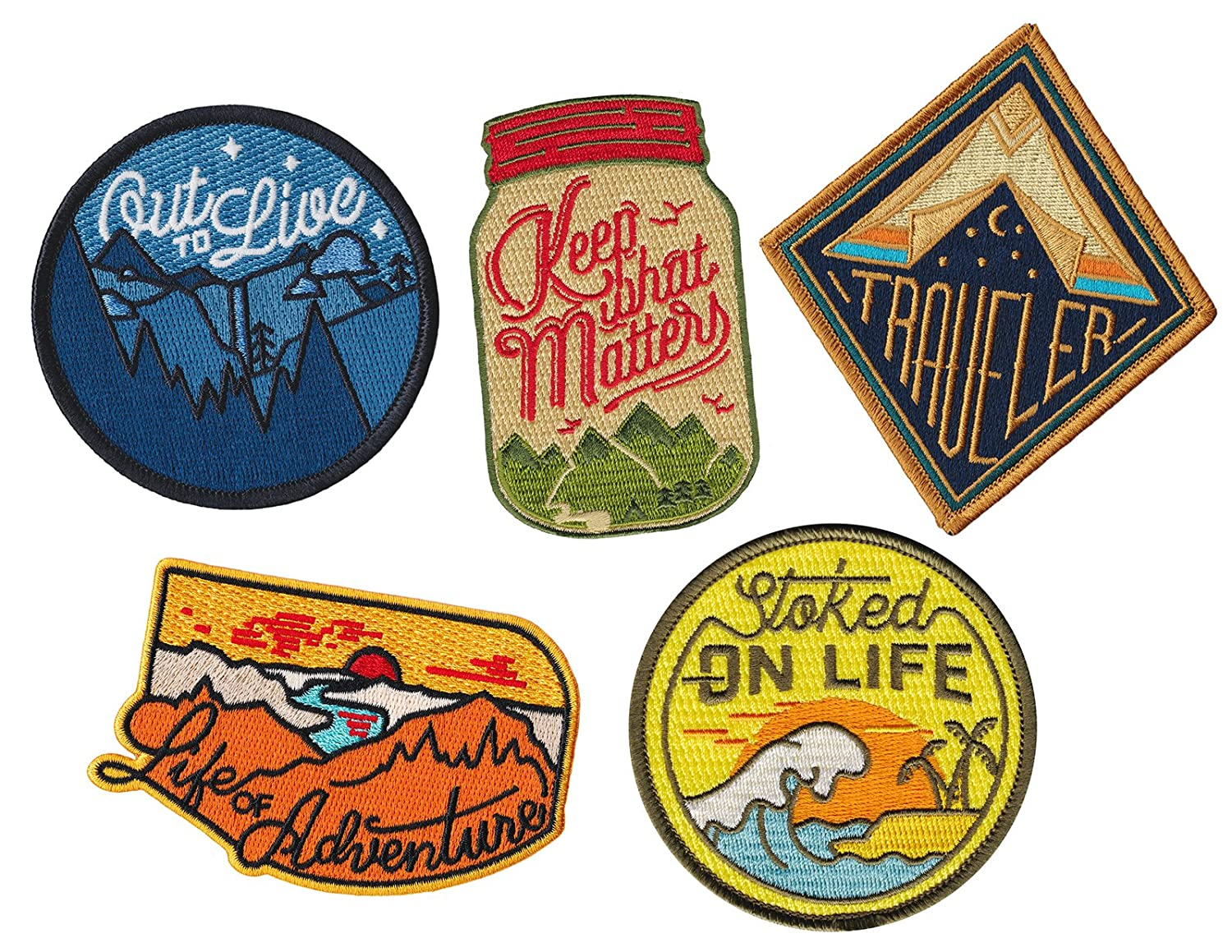 Asilda Store Iron On Patches Set - Perfect for Backpacks and Clothing - For Your Type of Fun [Adventure, Outdoor, Camping, Hiking, Travel] - Set of 5 Premium Quality Embroidered Patches 4337020472