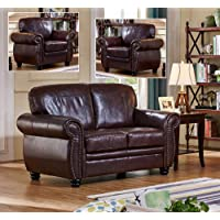 Burgundy High Quality Leather 3 Seater Sofa 2 Seater Sofa Armchair Sofa Suite HIGHBURY