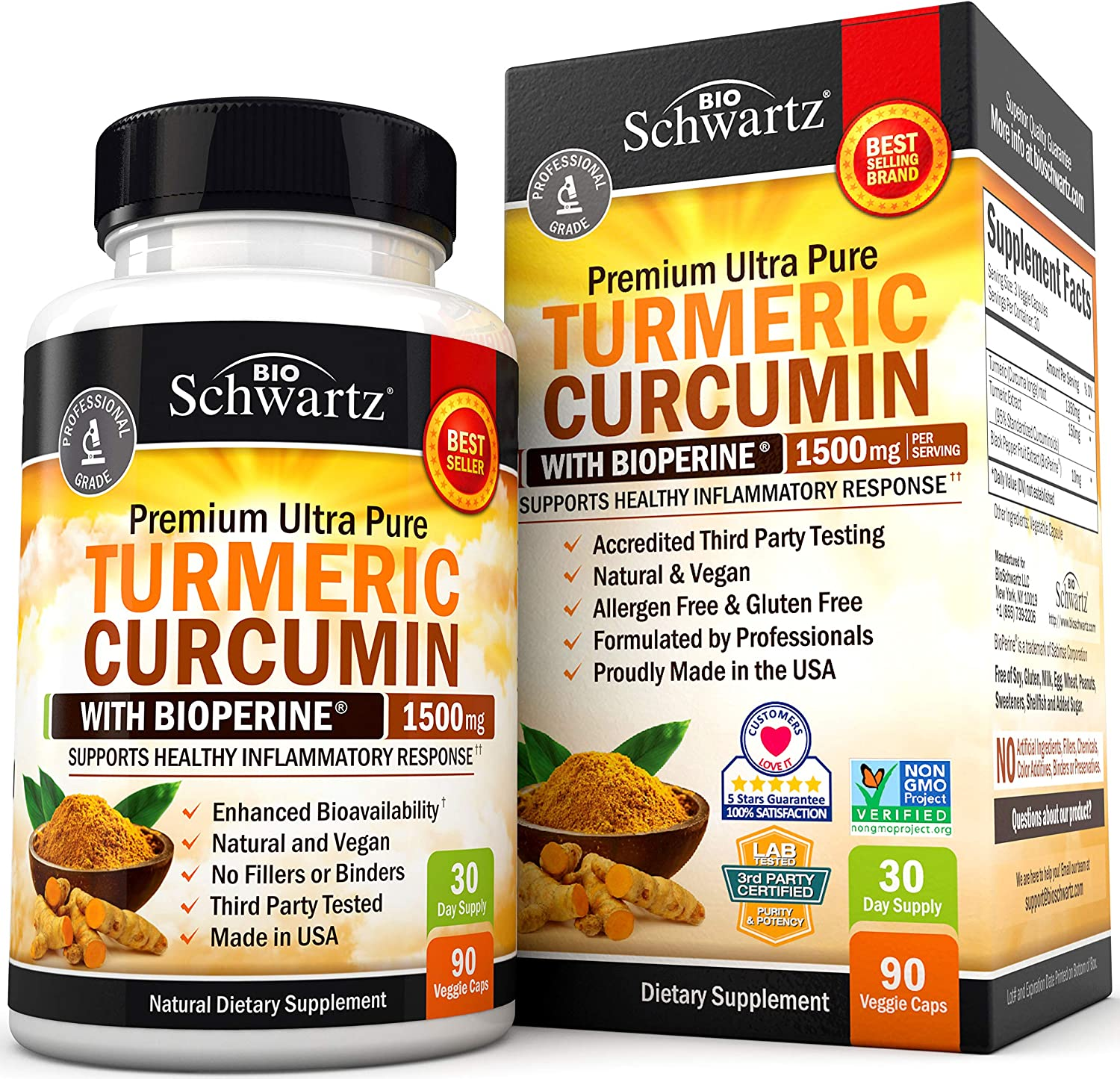 Turmeric Curcumin with BioPerine 1500mg. Highest Potency Available. Premium Joint & Healthy Inflammatory Support with 95% Standardized Curcuminoids. Non-GMO, Gluten Free Capsules with Black Pepper: Health & Personal Care