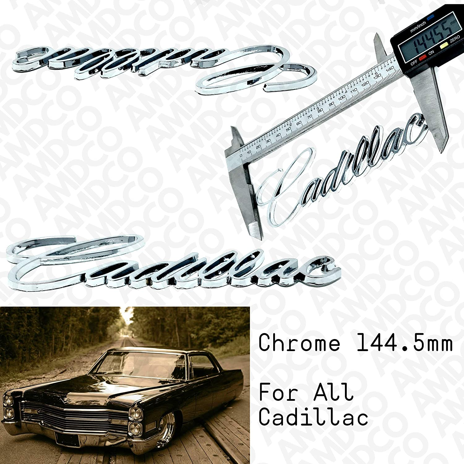 CHROME for CADI CTS ATS Escalade XTS Emblem Badge Stickers Decals with Strong 3M Includes instructions MEASURE Before Purchase pack of 1 AMDCO