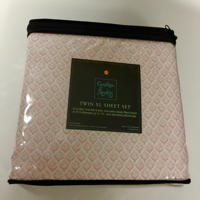 Cynthia Rowley Pink Wall Flowers on White Twin XL Sheet Set