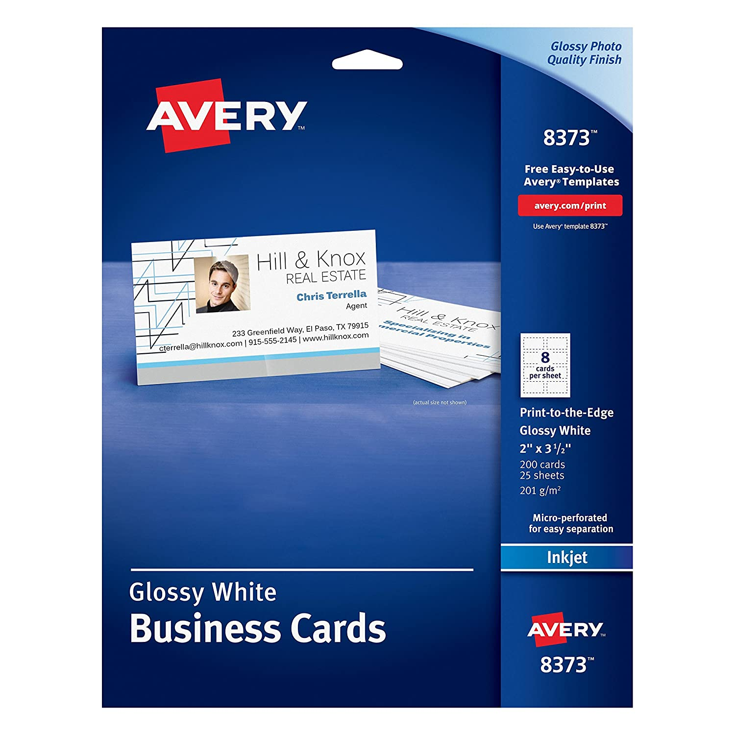 Color printing el paso tx - Amazon Com Avery Glossy Photo Quality Business Cards For Inkjet Printers 8373 Inkjet Printer Paper Office Products