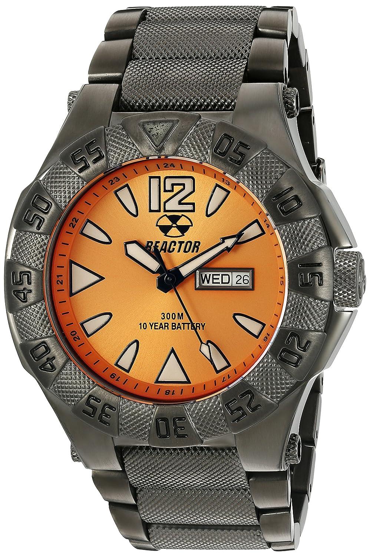 REACTOR 53608 Unisex Gamma Tag & Datum Sonnenstrahl Gunmetal Armband Band Orange Zifferblatt Armbanduhr