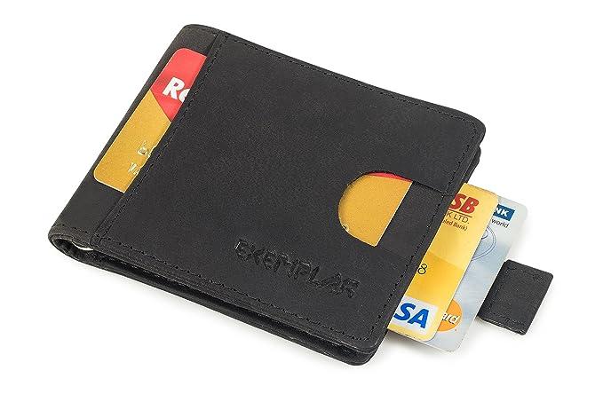 exemplar rfid genuine cow leather wallet black money clip card holder for men - Money Clip Card Holder