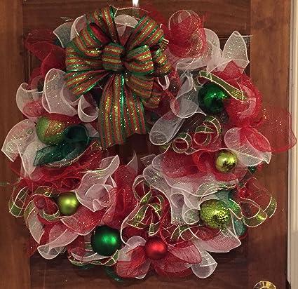 multi colored deco mesh christmas wreath - Deco Mesh Christmas Wreath