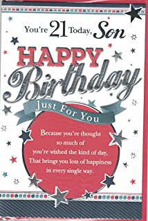 Son 21st Birthday Card Youre 21 Happy Modern Silver Stars