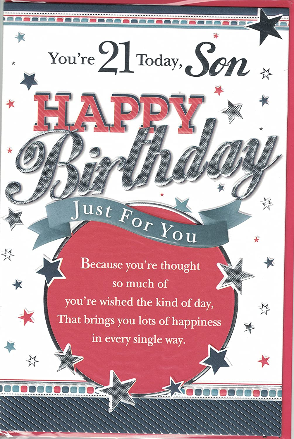 Son 21st birthday card youre 21 son happy birthday modern son 21st birthday card youre 21 son happy birthday modern silver stars design amazon office products bookmarktalkfo Choice Image