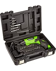 Kawasaki Akkuschrauber, klein, Set mit Koffer und Bits, 1500 mAh, Drehmoment einstellbar, LED Licht, Softgriff, Handschrauber