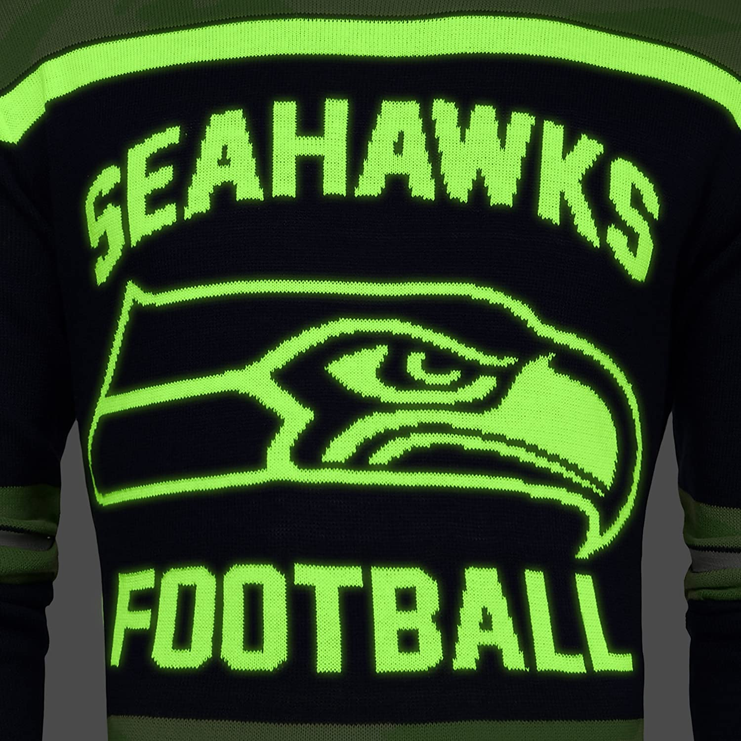 Seattle Seahawks Ugly Glow In The Dark Sweater Mens Large