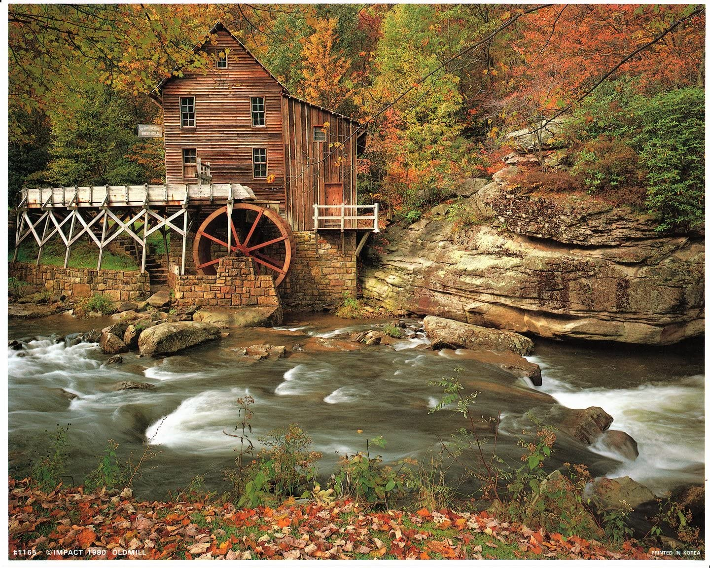 Glade Creek Mill Nature Trees Landscape Wall Decor Art Print Poster (16x20)