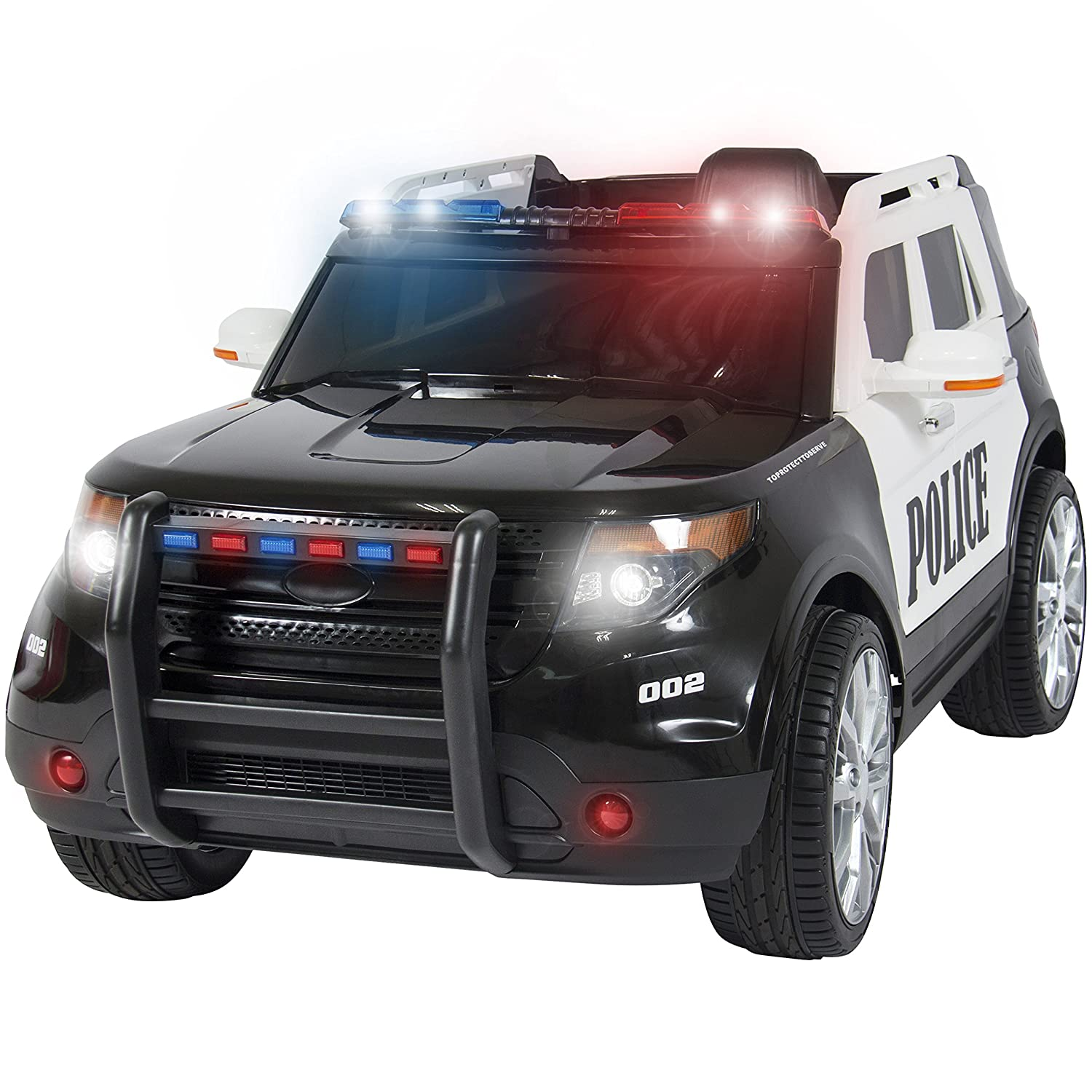 amazoncom best choice products ford style 12v ride on car police car w remote control 2 speeds led lights toys games