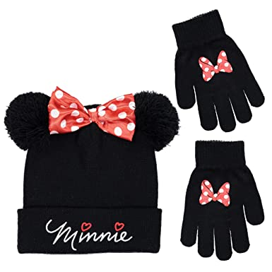 Disney Minnie Mouse Baby Girls Winter Set of Beanie Hat with Gloves 0-2 Years
