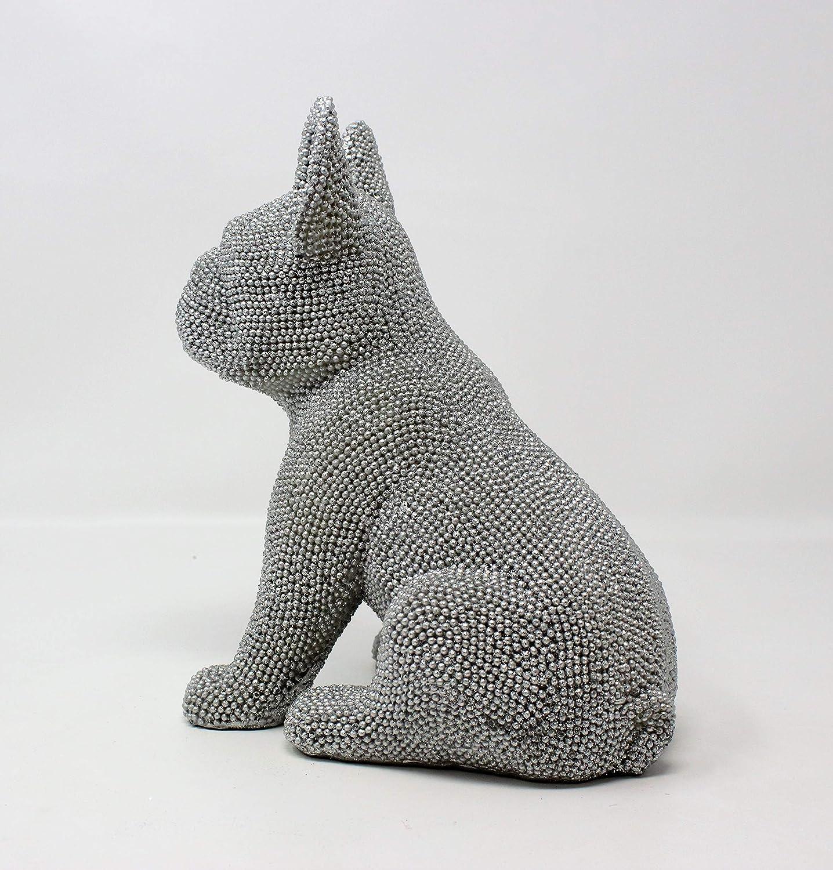 Lesser /& Pavey Silver Sparkle Diamante Glitter Sitting French Bulldog Ornament
