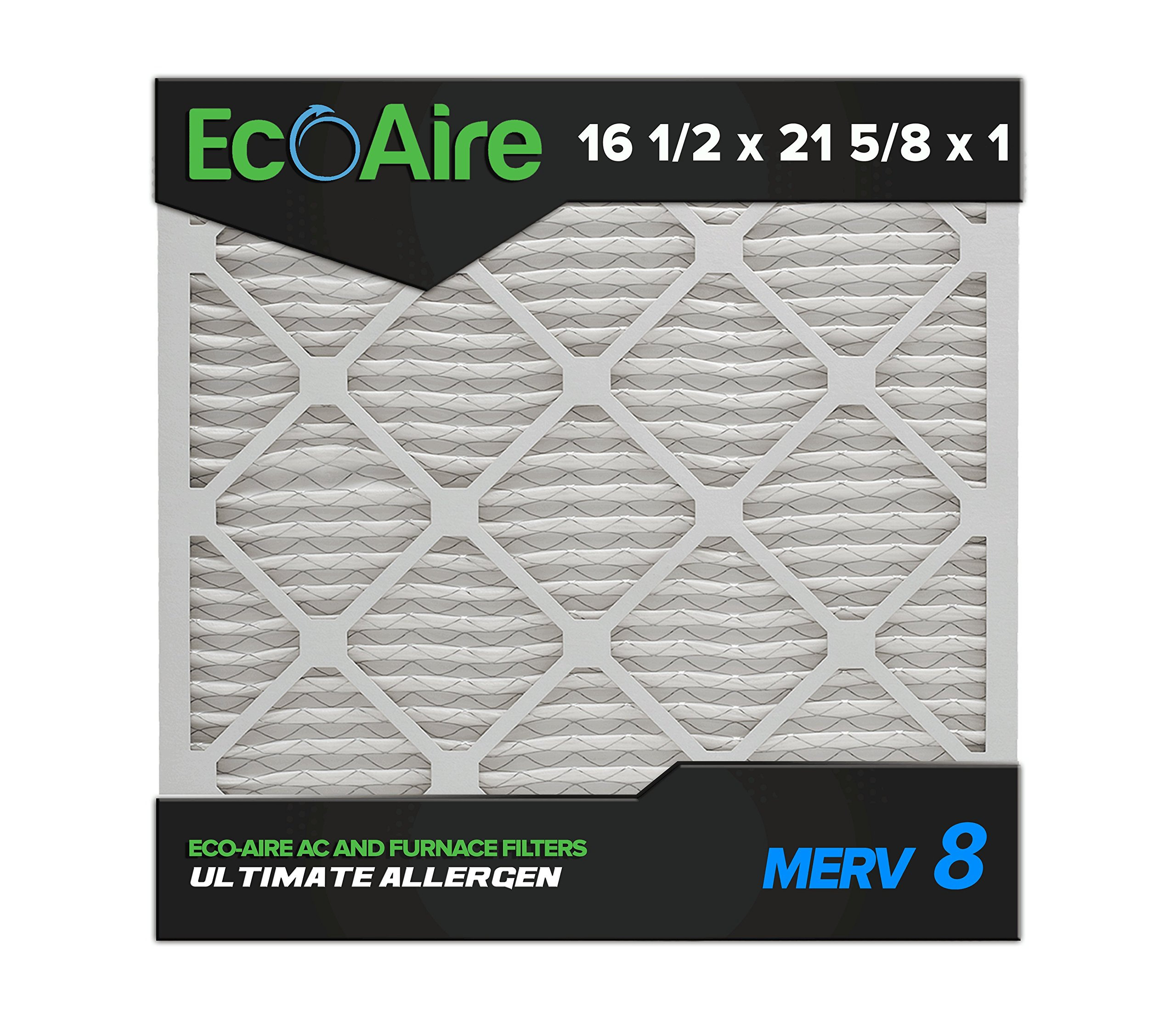 Eco-Aire 16 1/2x21 5/8x1 MERV 8, Pleated Air Filter, 16 1/2 x 21 5/8 x 1, Box of 6, Made in the USA