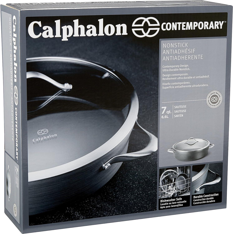 Black Calphalon Contemporary Hard-Anodized Aluminum Nonstick Cookware 7-Quart Sauteuse Pan