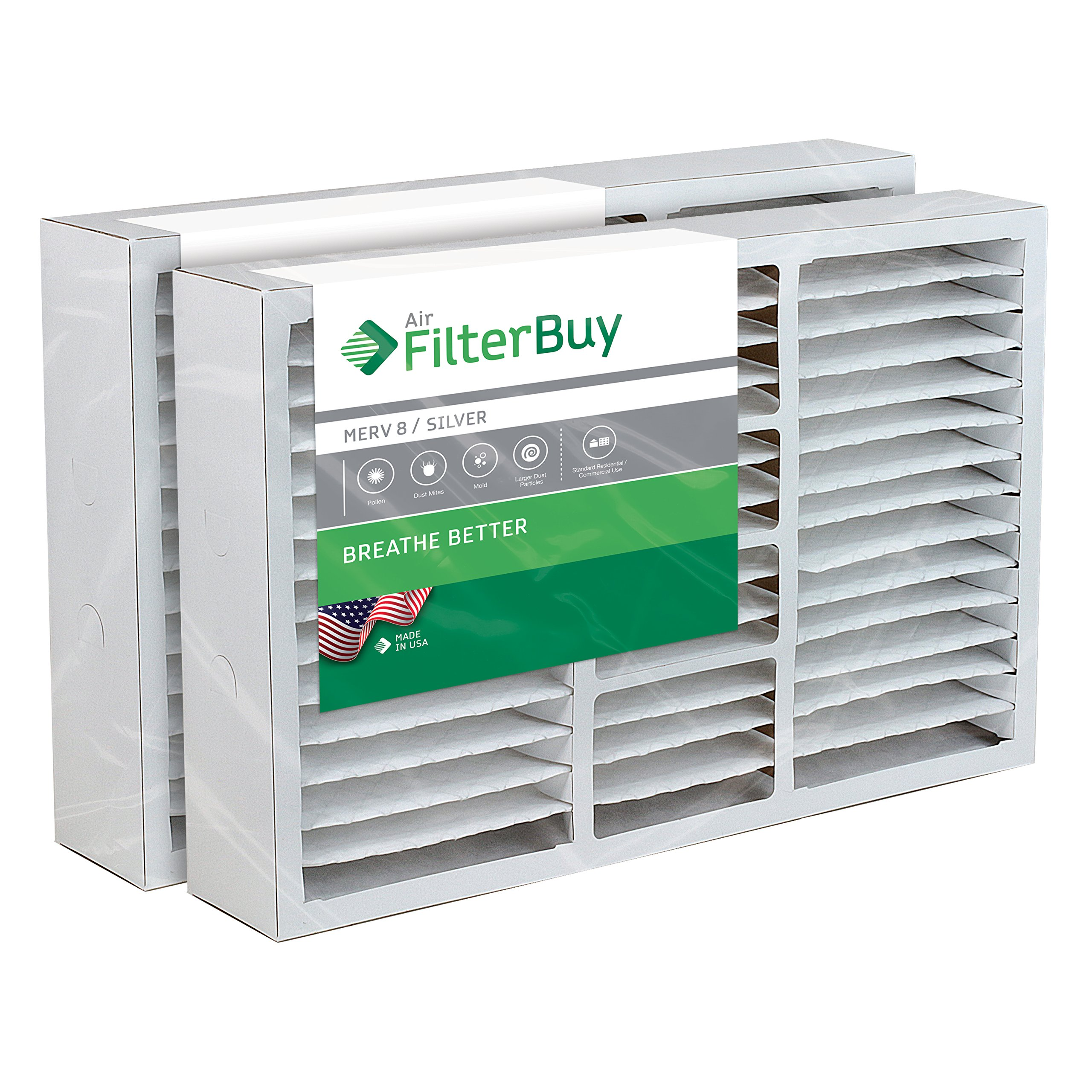FilterBuy 16x25x5 Lennox X0583, X6670, HCF16-10 Box Replacement Pleated AC Furnace Air Filters - Pack of 2 - MERV 8 (AFB Silver). Manufactured by FilterBuy in the USA.