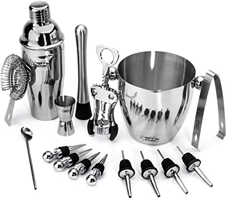 Buddy 16-Piece Wine and Cocktail Mixing Bar Set Bartender Kit w Essential Barware Tools-Large 25 oz. Stainless Steel Shaker, Ice Bucket, Muddler, Double Sided Jigger – Free 1000 Cocktail Recipes PDF