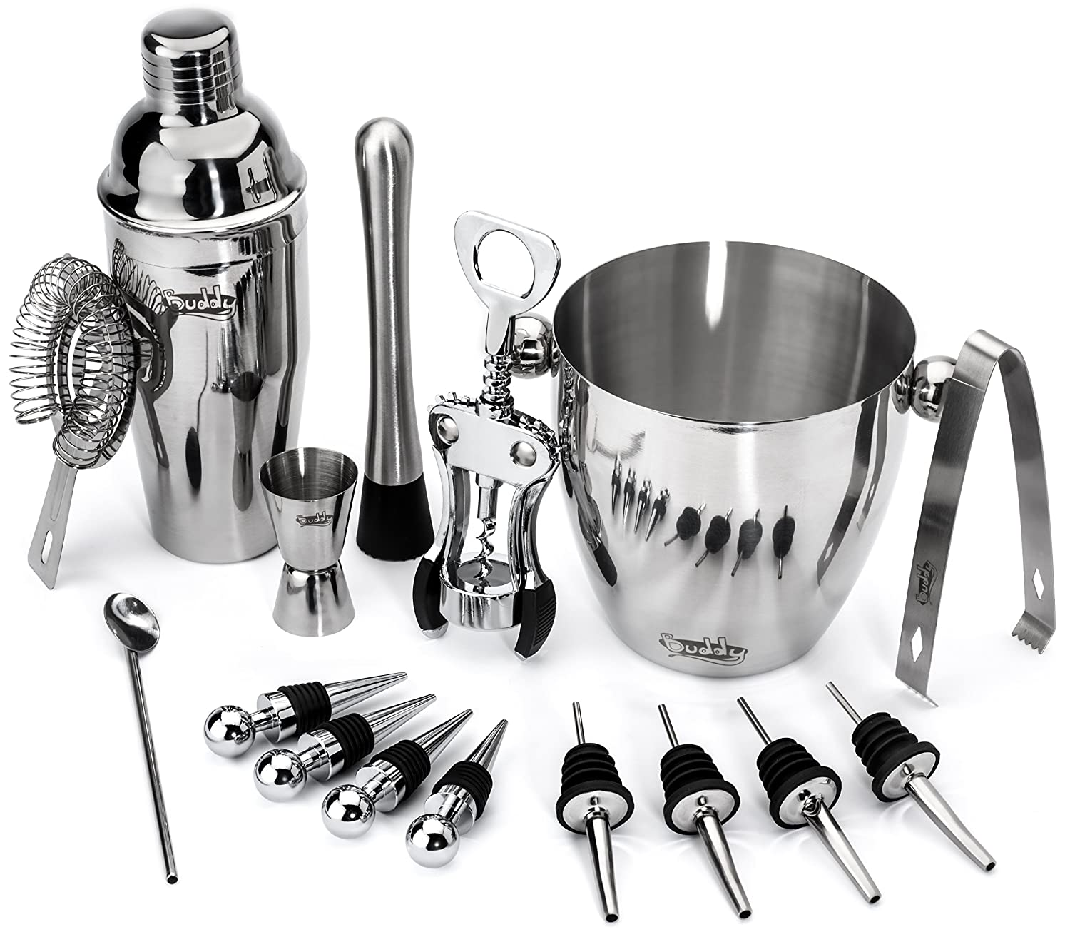 Buddy 16-Piece Wine and Cocktail Mixing Bar Set–Bartender Kit w/Essential Barware Tools-Large 25 oz. Stainless Steel Shaker, Ice Bucket, Muddler, Double Sided Jigger - Free 1000 Cocktail Recipes PDF BUDPROD0001