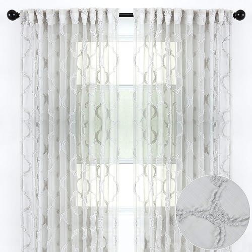 Chanasya 2-Panel Moroccan Embroidered Design Textured Sheer Curtain Panels
