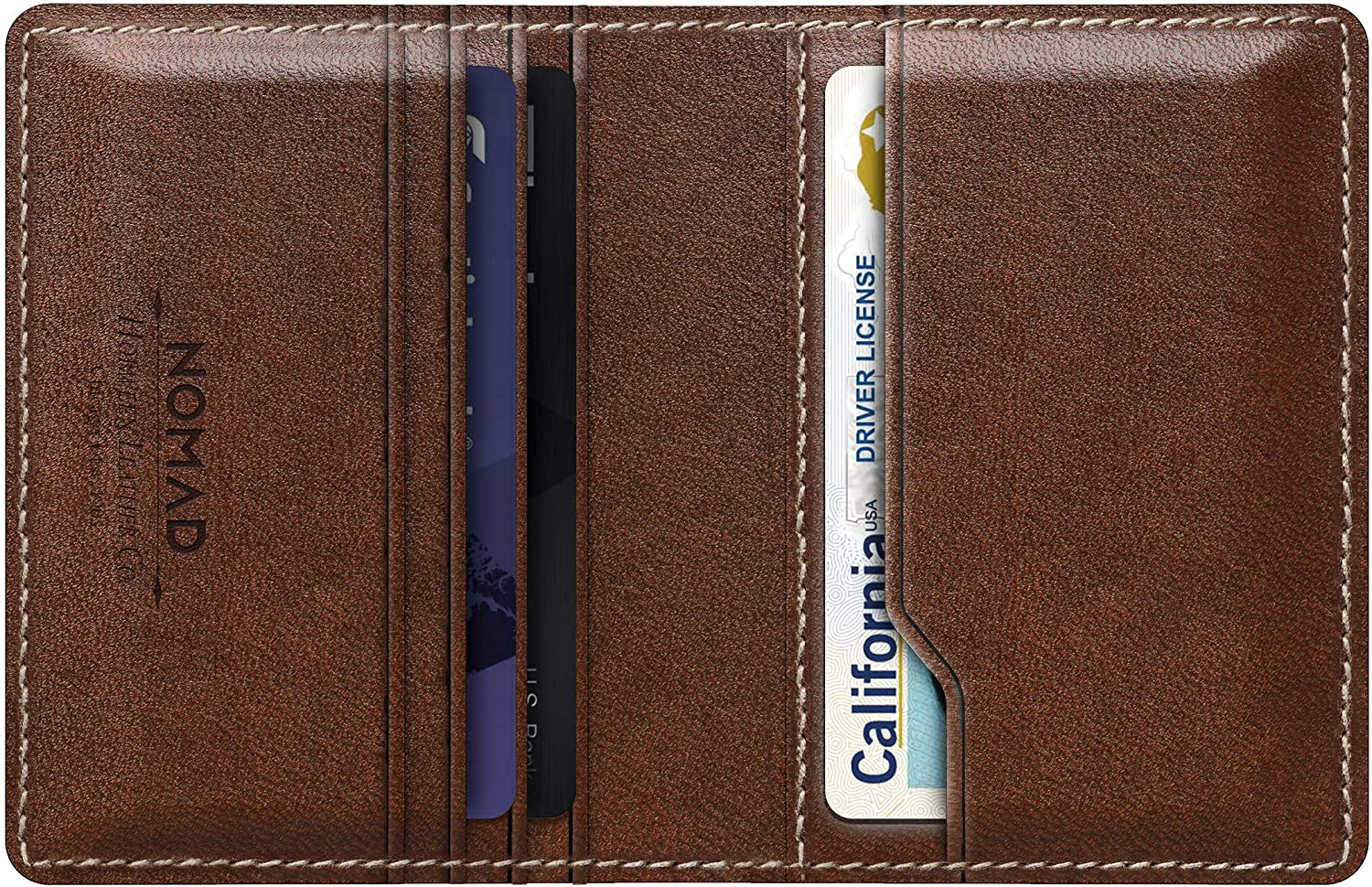nomad wallet with integrated tile rustic brown horween leather