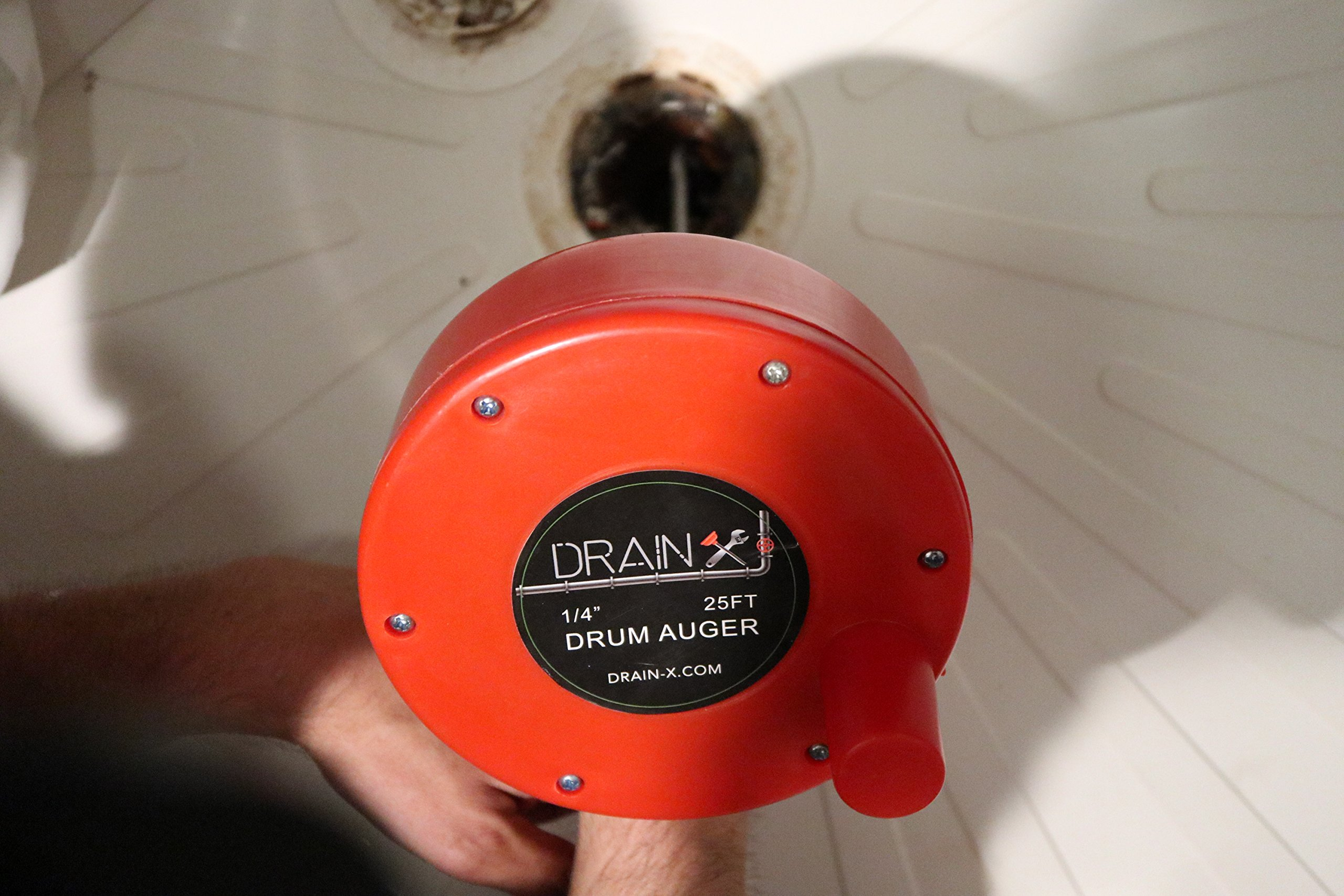 Plumbing Snake Drain Auger | 25-Ft Drain Snake Cable with Work Gloves and Storage Bag by DrainX (Image #5)