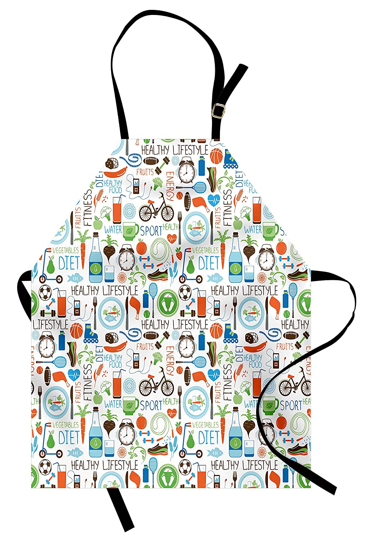 Fitnessエプロンby Ambesonne、スポーツとダイエット栄養バランス自転車有機Fresh Food Poultryジュース活力、ユニセックスキッチン調節可能なネックよだれかけエプロンfor Cooking Bakingガーデニング、マルチカラー   B0798RDNSG