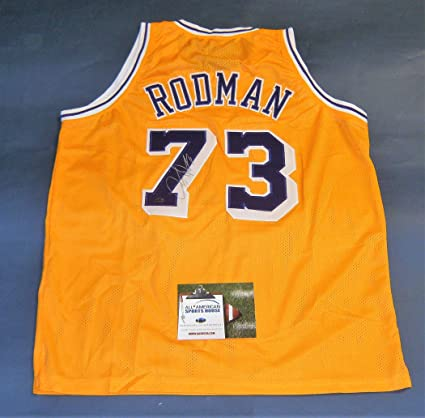 a1add8ab2e2 RARE DENNIS RODMAN AUTOGRAPHED LOS ANGELES LAKERS JERSEY AASH at ...