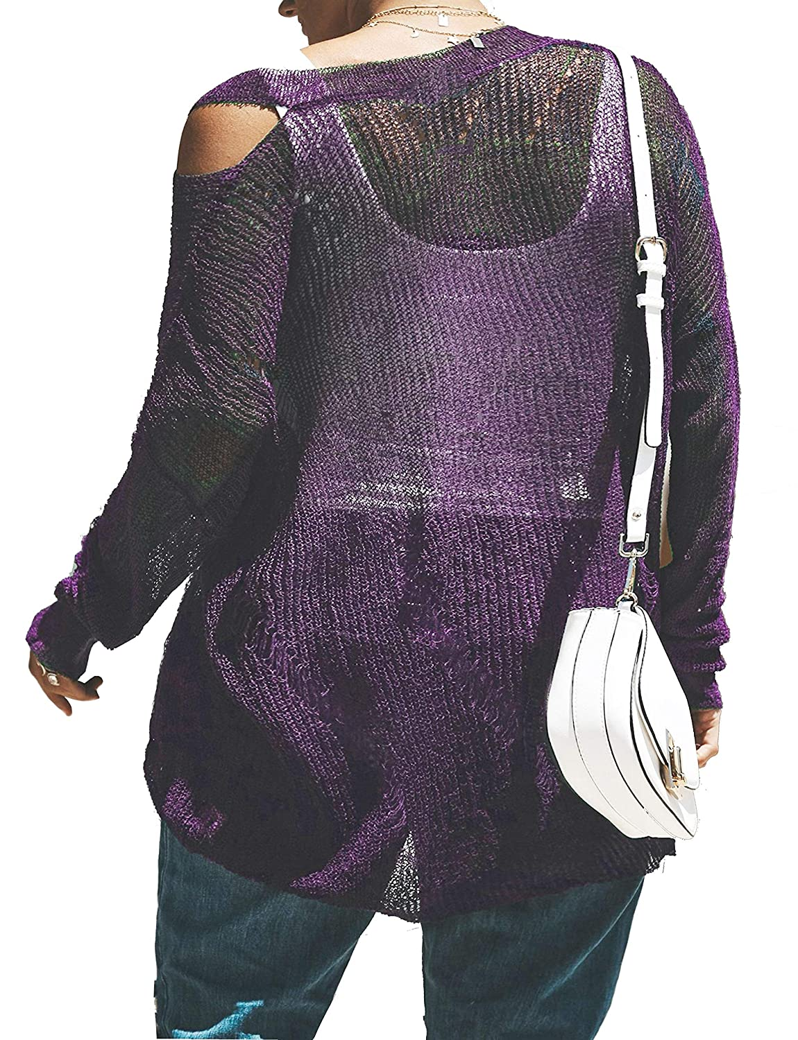 99516661aa8 YSkkt Womens Tops Cold Shoulder Plus Size Oversized Sweaters Cable Knit  Pullover Baggy Slouchy Long Sleeve