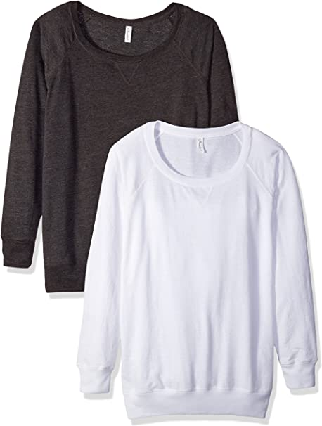 Clementine Apparel Women Plus Size 2 Pack T Shirts Easy Tag Comfort Crew Neck Slouchy Cotton Blend Curvy Pullover Sweatshirts