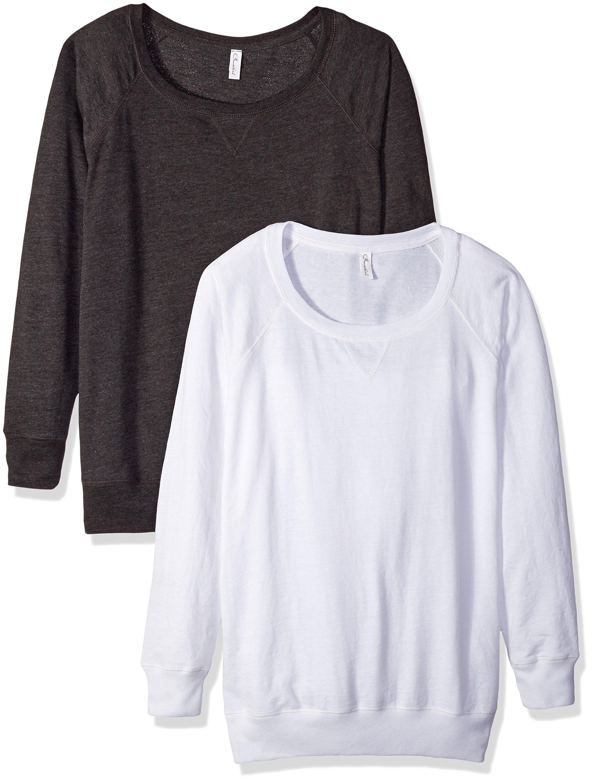 Clementine Apparel Women's Plus Ladies Curvy Slouchy Pullover Sweatshirt (2 Pack), Smoke/White, Size 1 (14-16)