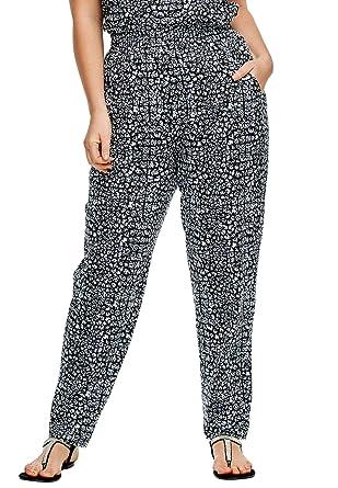 b2a53794754690 Ellos Women's Plus Size Soft Knit Elastic Waist Pants - Black Print, ...