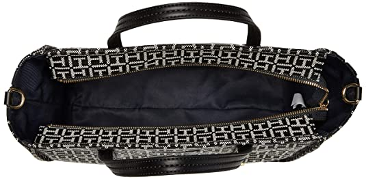 Amazon.com: Tommy Hilfiger Womens City Leather Convertible Tote Black/White One Size: Shoes
