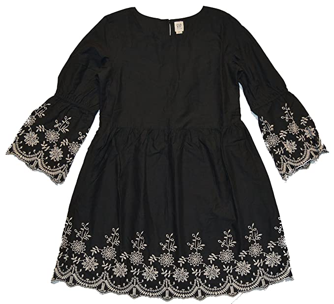 02afb1a1d Amazon.com: GAP Kids Girls Black Floral Embroidered Bell Sleeve ...