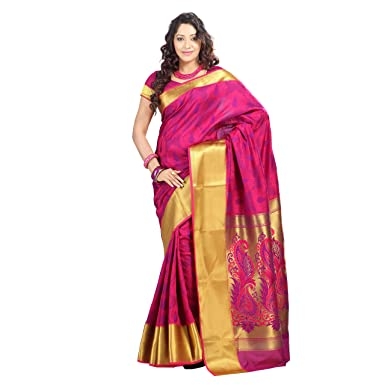 1b891bdc8f Varkala Paithani Big Border Peacock Pallu Saree, Dual Colour Rani-Violet:  Amazon.in: Clothing & Accessories