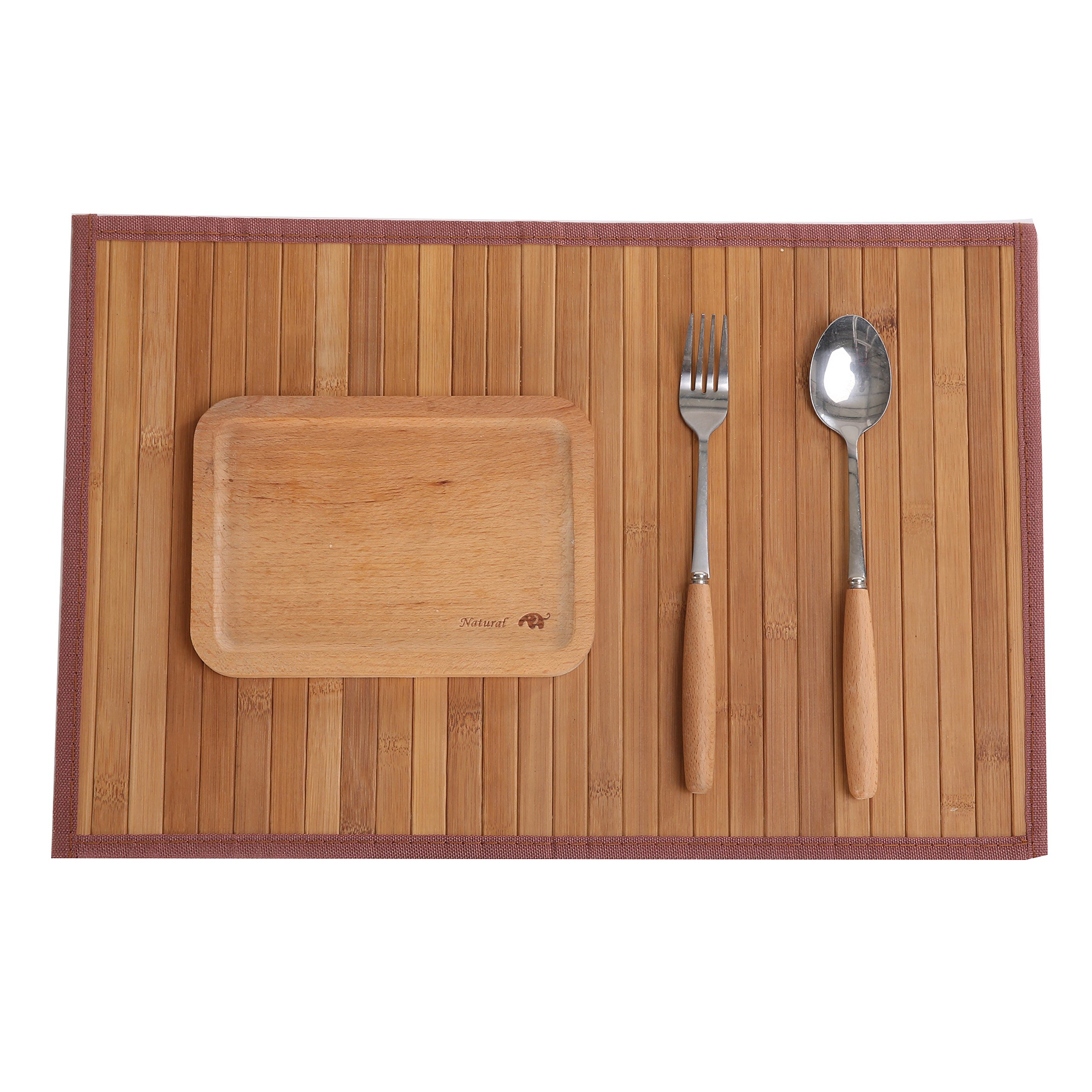 Marscool Placemat for Kitchen Table,Bamboo Placemat Stain-Resistant,Heat-Resistant Placemats Set of 4,Natural Bamboo Material,Table Mats and Dine Mats for Dining Table,Four Model Choices(Original)