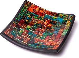"""Glass Mosaic Square Accent Plate Platter Decorative Catch-All Tray Dish Centerpiece Bowl - 6"""" with Green, Orange, Blue, Black, Brown Colors for Living Room, Bedroom, Hallway Console Side Table Decor"""