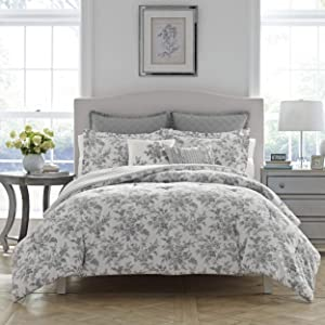 Laura Ashley Annalise Floral Comforter Set, King, Gray