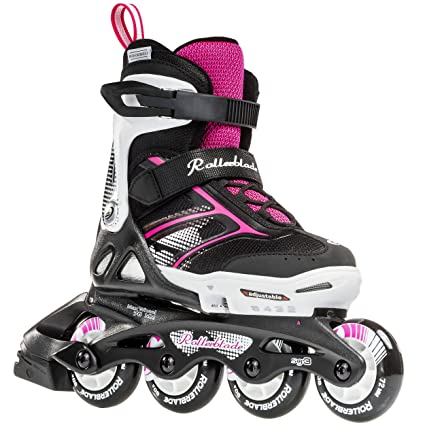 739888df Rollerblade Girls Spitfire JR XTG 2016 Kids Skate, Black/Pink, Adjustable (5